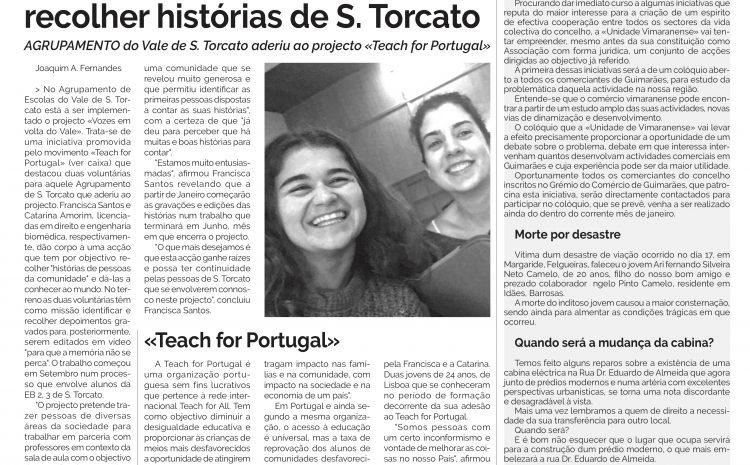 """""""Vozes em volta do Vale"""" no jornal Comércio de Guimarães"""